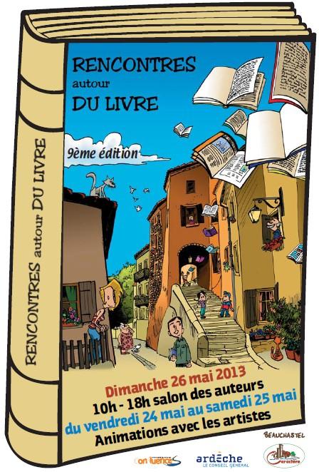 """Beauchastel, Affiche """"Rencontre autour du livre"""""""