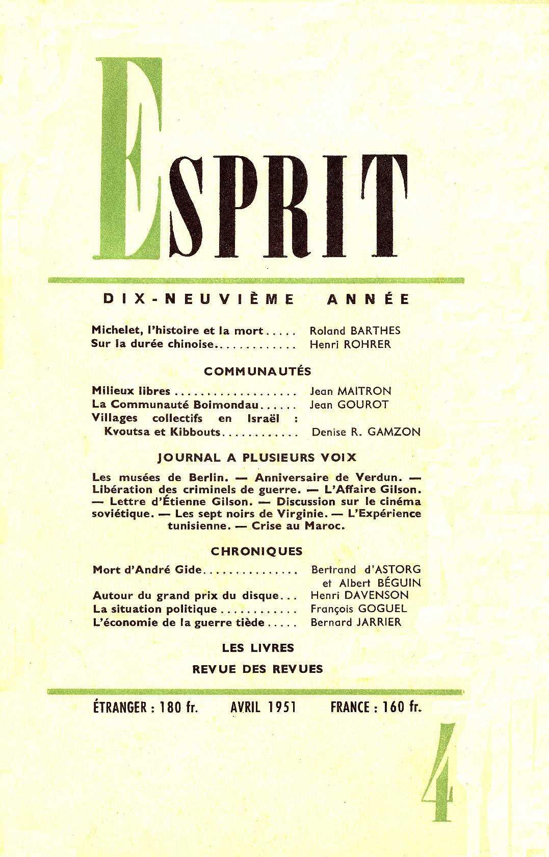 Revue Esprit - Jean GOUROT