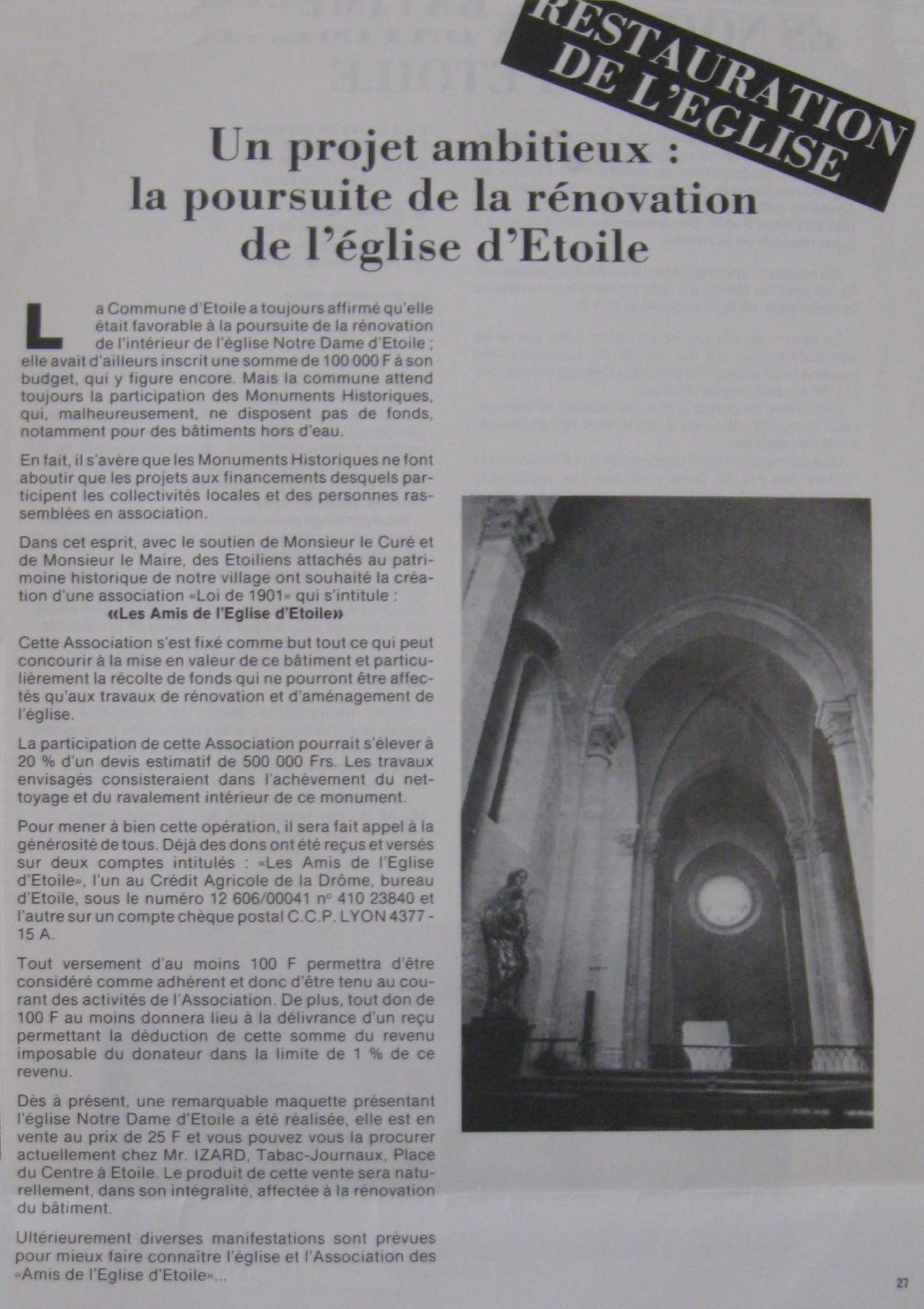 Association Amis de l'église d'Etoile